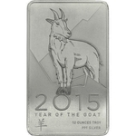 10 oz Year Of The Goat Silver Bullion Bar 999 Fine Silver