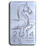 10 oz Year Of The Horse Silver Bullion Bar 999 Fine Silver