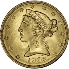$5 Liberty Gold Coins 1839-1908