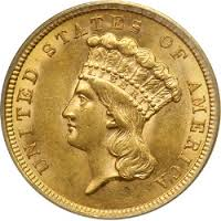 $3 Gold Coins 1854-1899