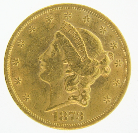 1873 $20 Gold Double Eagle Liberty Coin - Click Image to Close