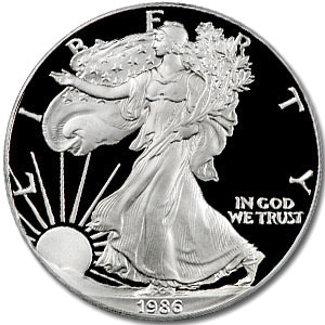 1986 S Proof American Silver Eagle Coin - Click Image to Close