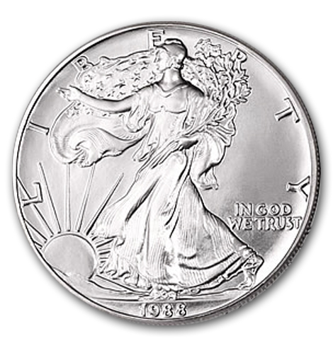 1988 1 oz American Silver Eagle Coin With Air-Tite Holder
