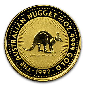 1992 1/20 Ounce Australian Gold Nugget - Click Image to Close