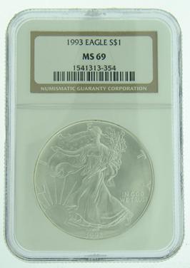 1993 1 Oz American Eagle Silver Coin Ngc Ms 69