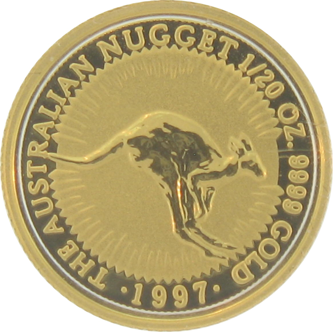 1997 1/20 Ounce Australian Gold Nugget - Click Image to Close