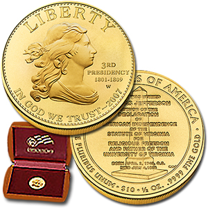 2007 W 1/2 Ounce Uncir. Gold Jefferson\'s Liberty With Box & COA