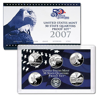 2007 US Proof Set Of 5 Piece Quarters Only - Click Image to Close