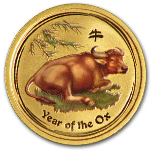 2009 1/10 Ounce Gold Lunar Year Of The Ox Coin Colorized