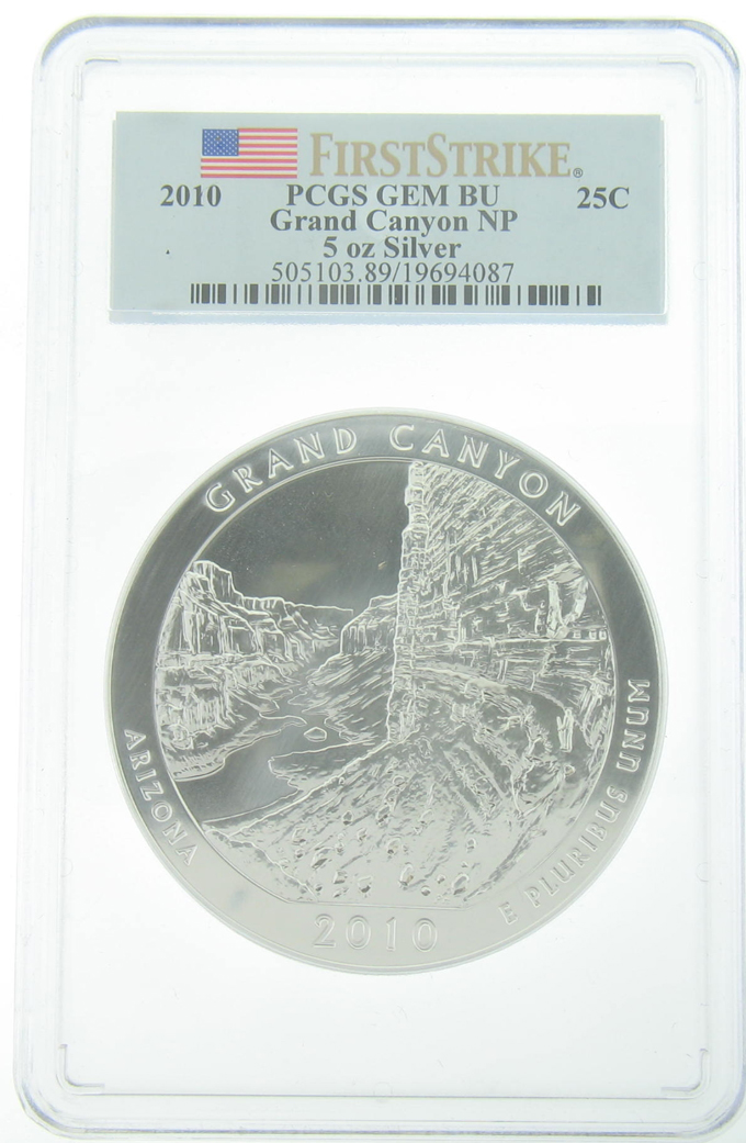 PCGS GEM BU 2010 5 Ounce America The Beautiful Grand Canyon Coin - Click Image to Close