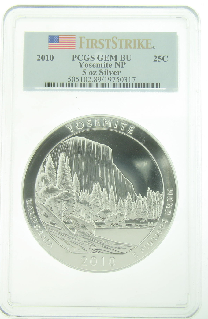 PCGS GEM BU 2010 5 Ounce America The Beautiful Yosemite Coin - Click Image to Close