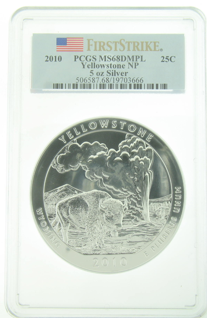 PCGS MS68DMPL 2010 5 Ounce America The Beautiful Yellowstone - Click Image to Close