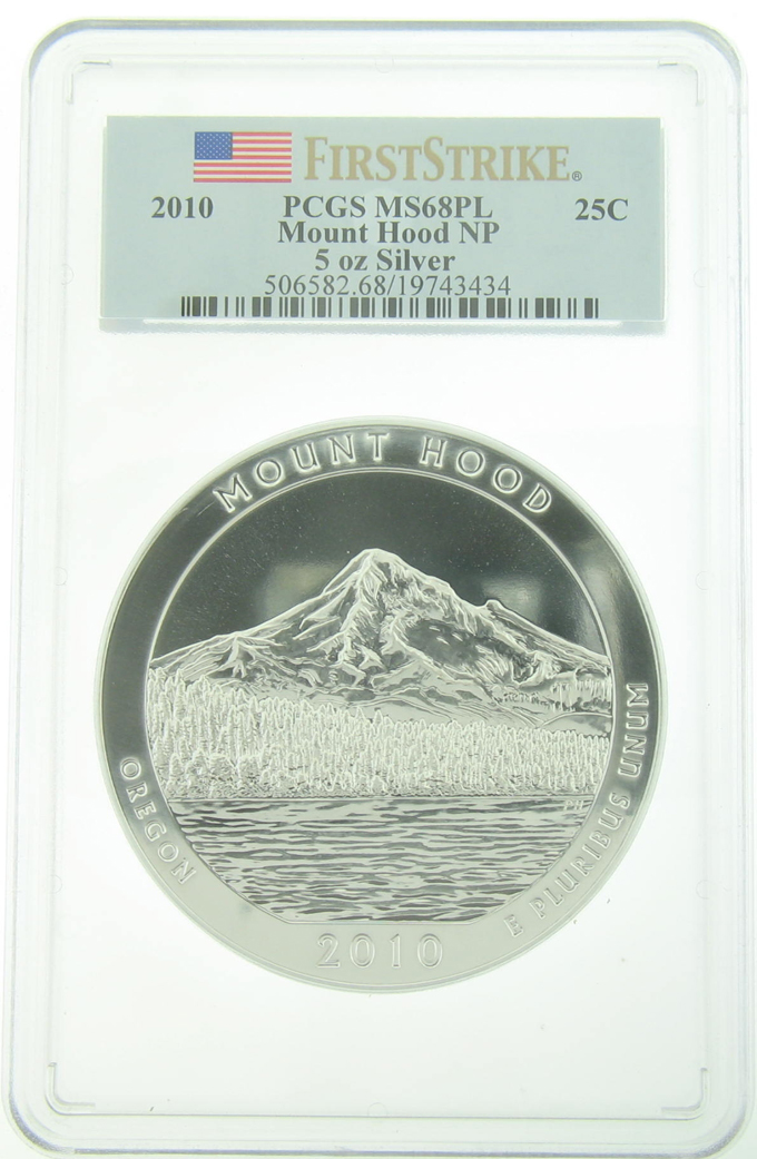 PCGS MS68PL 2010 5 Ounce America The Beautiful Mount Hood Coin - Click Image to Close