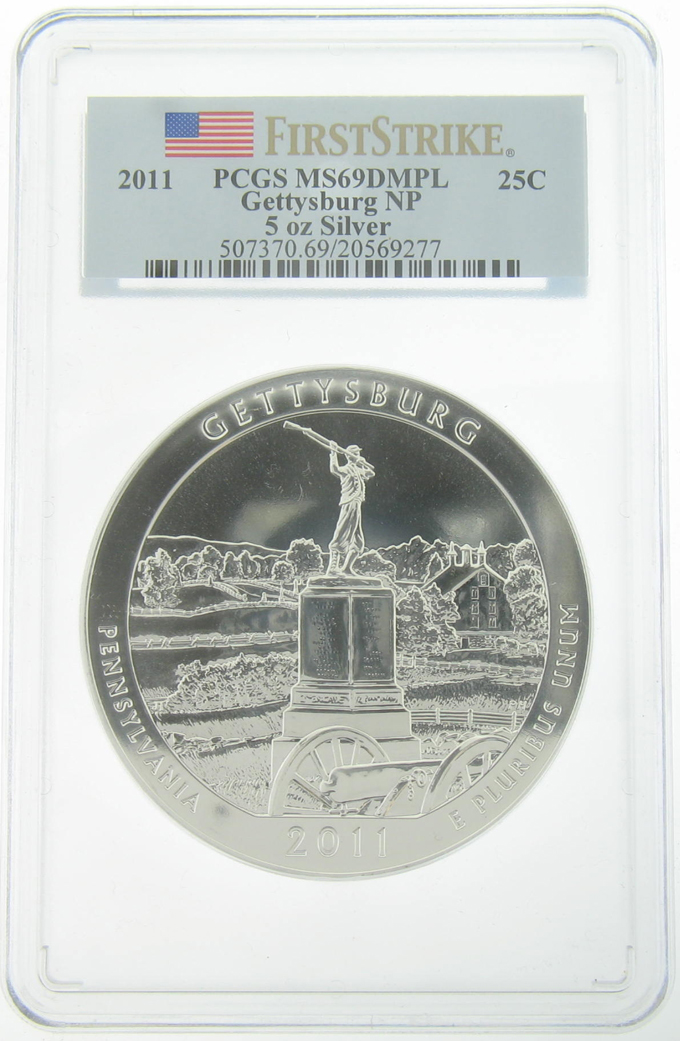 PCGS MS69DMPL 2011 5 Ounce America The Beautiful Gettysburg Coin - Click Image to Close