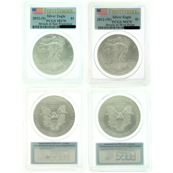 2012 W And S American Eagle Silver Coins FS PCGS MS70 - Click Image to Close