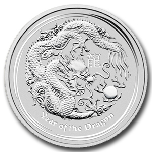 2012 1 oz Silver Australian Lunar Year of the Dragon Coin - Click Image to Close