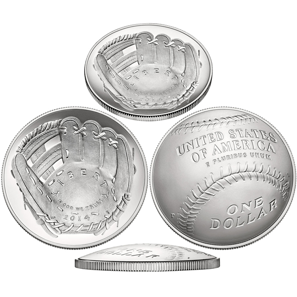 2014 P $1 Baseball Hall Of Fame Silver BU Coin With Box COA