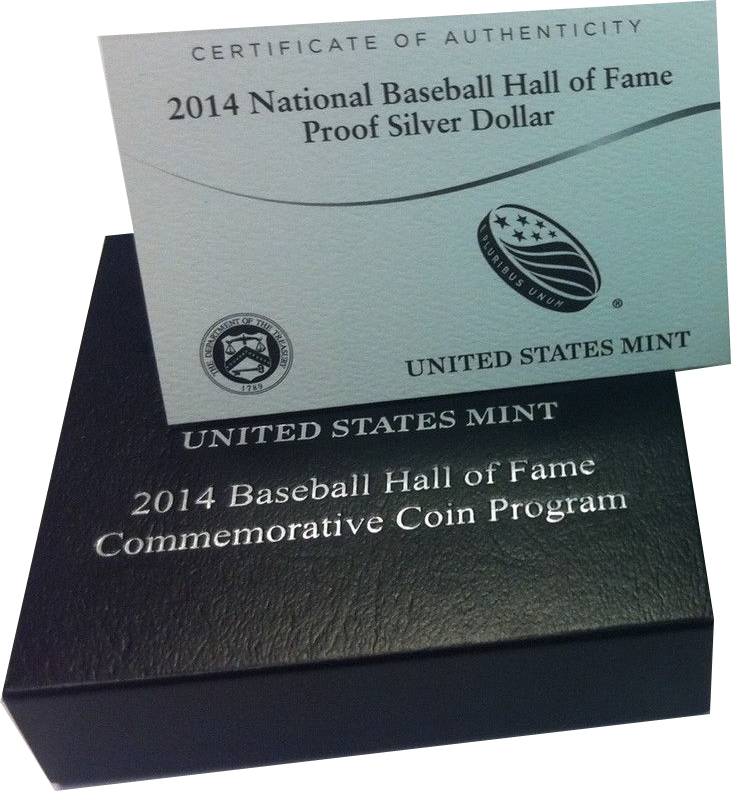 2014 P $1 Baseball Hall Of Fame Silver Proof Coin With Box COA