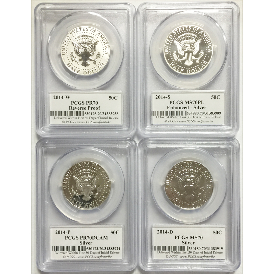 2014 PCGS 70 Set 4 Kennedy Half Dollar 50th Anniversary FS