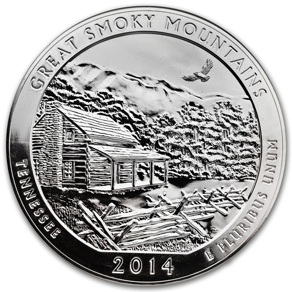 2014 5 oz Silver ATB Great Smoky Mountains National Park TN - Click Image to Close