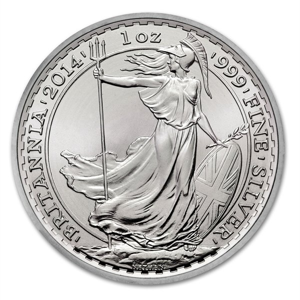 2014 1 oz Silver Britannia Coin Brilliant Uncirculated - Click Image to Close