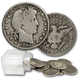 Barber Half Dollars $10 90% Silver Roll Of 20 Coins Avg. Circ. - Click Image to Close