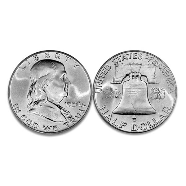 Franklin Half Dollar 90% Silver 1 Coin Average Circulated - Click Image to Close