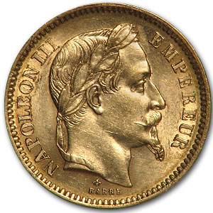 20 Francs .1867 oz Gold Napoleon III Coin France 1852-1870 - Click Image to Close