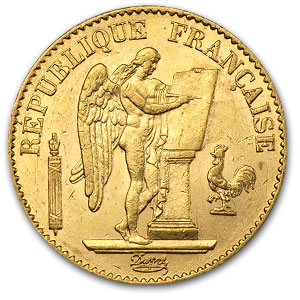 20 Francs Gold Coin Lucky Angel .1867 Ounce Average