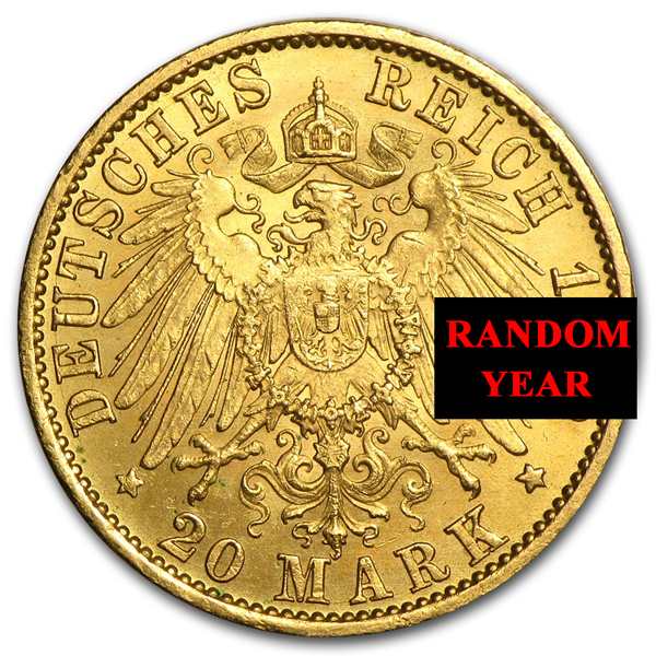 1888-1913 Germany .2304 oz Gold 20 Marks Prussia William II