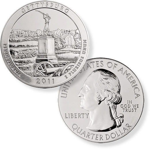 2011 5 Ounce America The Beautiful Gettysburg Coin - Click Image to Close