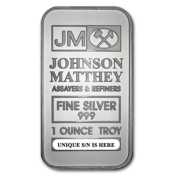 1 oz Johnson Matthey Silver Bar .999 Fine Silver