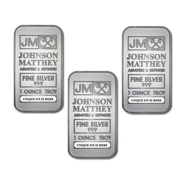 Lot of 3 - 1 oz Johnson Matthey Silver Bar .999 Fine Silver