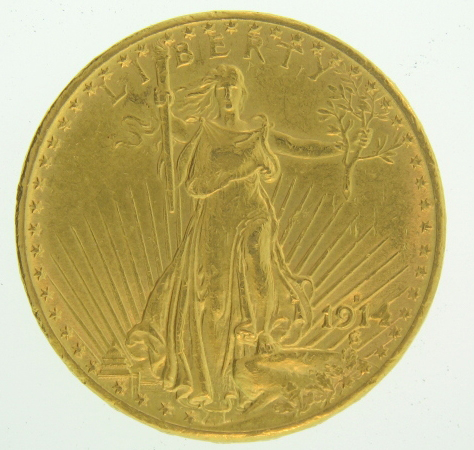 1914 S $20 Gold Double Eagle Saint Gaudens Coin - Click Image to Close