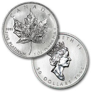 1 Ounce Platinum Canadian Maple Leaf Coin Random Year - Click Image to Close