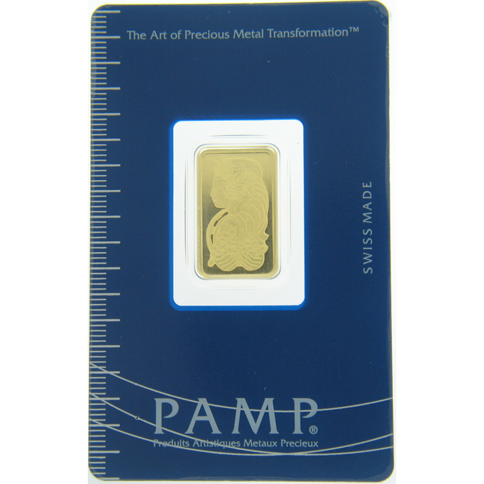 5 gram Gold Bar - PAMP Suisse Lady Fortuna Veriscan In Assay