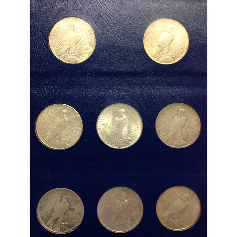 1921-1935 Complete Peace Dollar Coin Set AU/BU