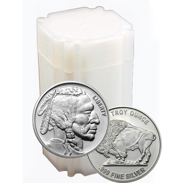 Roll of 20 - 1 oz Silver Buffalo Round Coin 999 Elemetal - Click Image to Close
