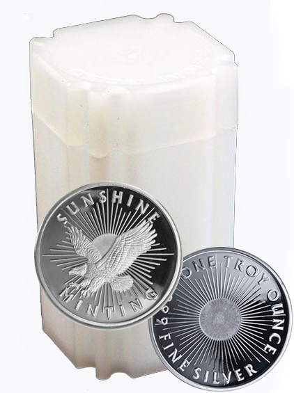 Roll of 20 - 1 oz Silver Round Coin 999 SM - Click Image to Close