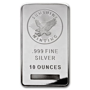 10 oz Sunshine Mint Silver Bullion Bar 999 Fine Silver - Click Image to Close