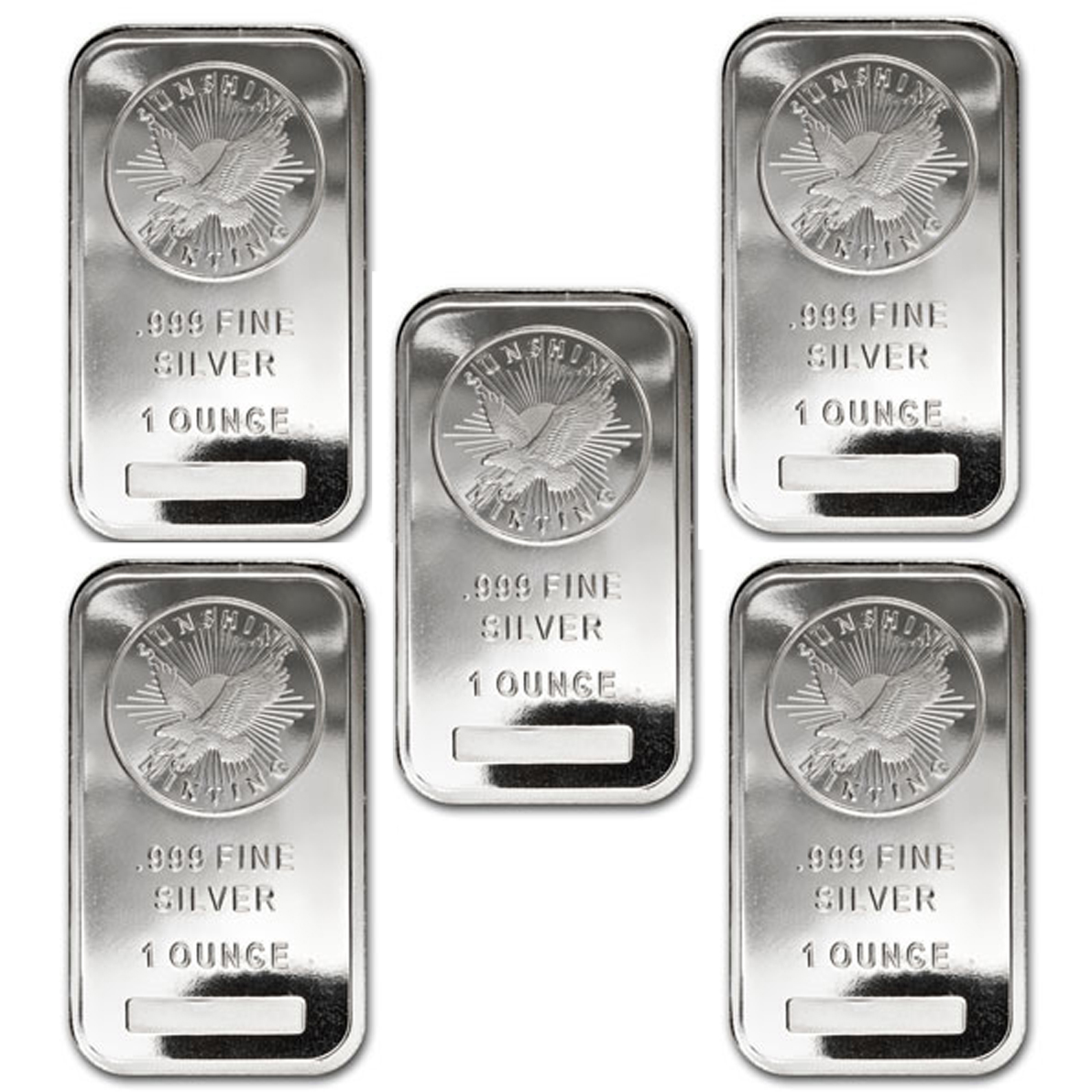 Where to buy silver - Lot Of 5 1 Oz Sunshine Minting Silver Bar 999 Fine Silver