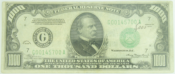 1934 1000 Federal Reserve Bank Note 1934 1000 Fr Note