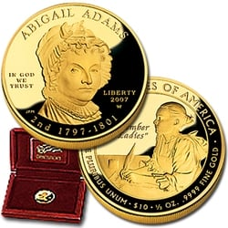 2007 W 1/2 Ounce Proof Gold Abigail Adams With Box & COA