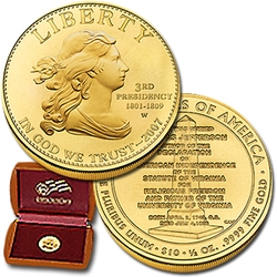 2007 W 1/2 Ounce Uncir. Gold Jefferson's Liberty With Box & COA