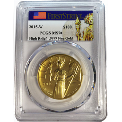 2015-W High Relief Liberty Eagle Gold Coin $100 PCGS MS70 FS