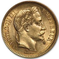 20 Francs .1867 oz Gold Napoleon III Coin France 1852-1870