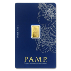 1 gram Gold Bar - PAMP Suisse Lady Fortuna Veriscan In Assay